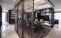 新中式书房古铜色不锈钢屏风