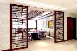 家装木纹色饭厅铝窗花隔断