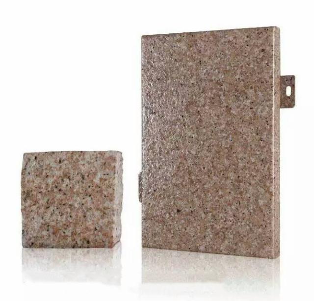 真石漆喷涂石纹铝单板和真石头对比