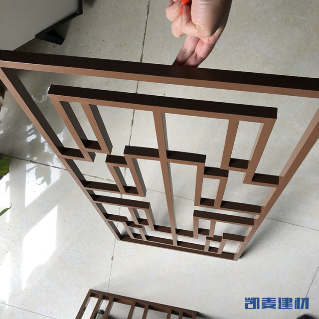 咖啡色铝方管焊接铝窗花