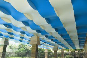 蓝色和白色相间波浪造型铝单板