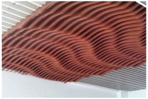 波浪造型弧形木纹铝方通