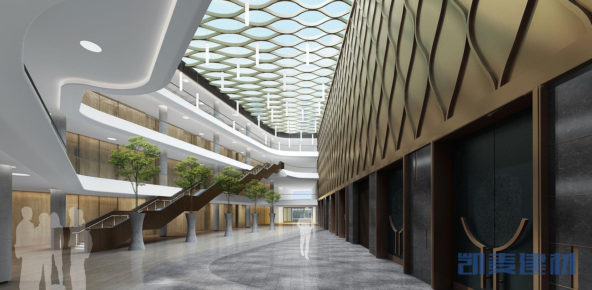 电梯口弧形方管和铝单板组合墙面板