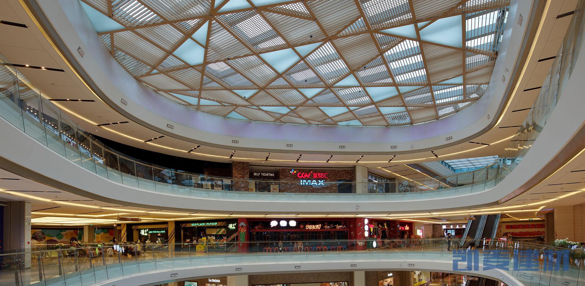 商场天井交叉吊顶铝格栅