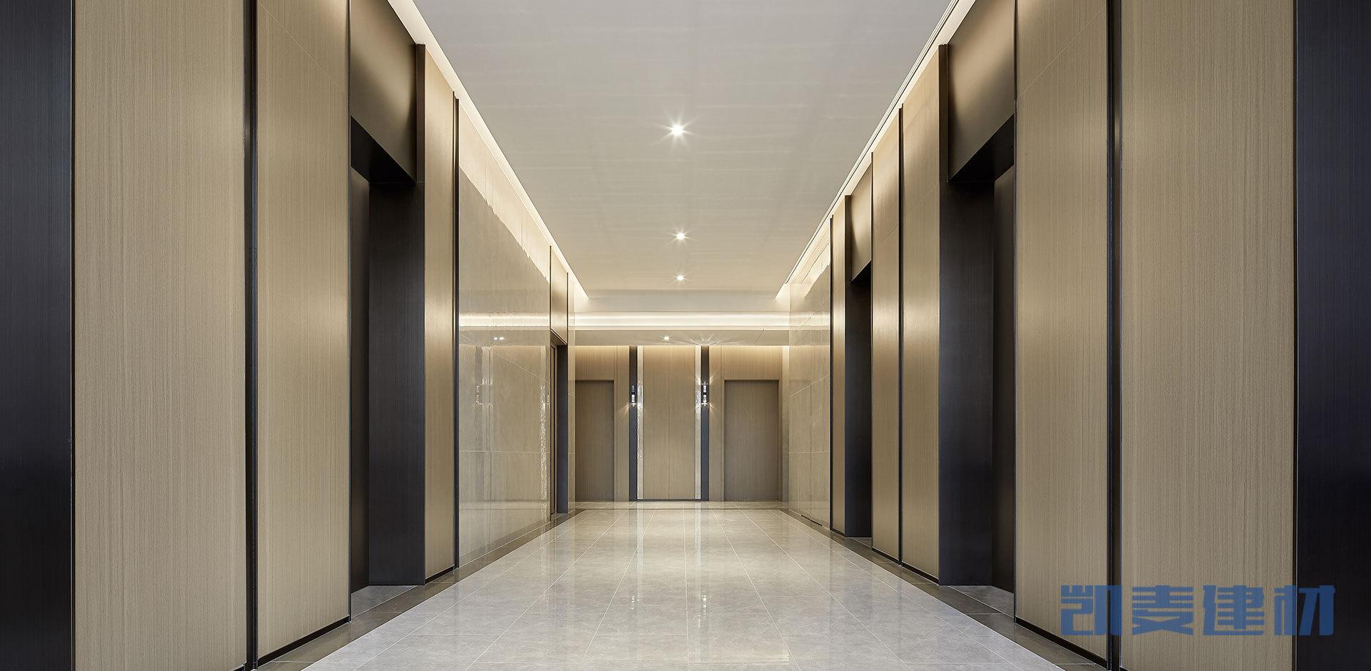 电梯间墙面木纹铝单板