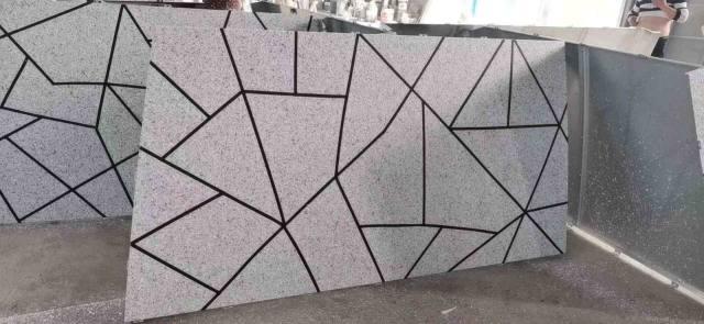 真石纹铝单板仿龟裂拼图留黑缝