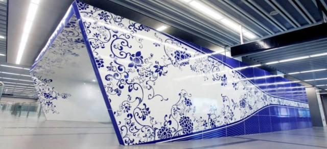 北京地铁国家图书馆站入口仿青花瓷烤瓷铝单板