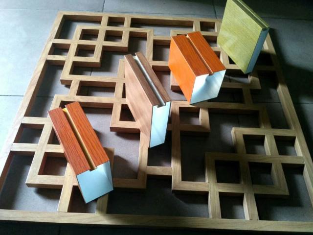 木纹色凹槽型材铝方通