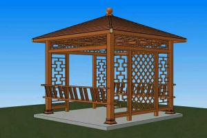 木纹色色铝合金凉亭