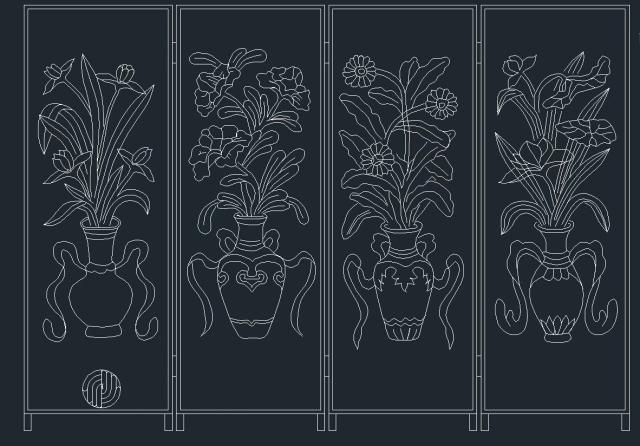 雕花铝板雕刻图案花瓶系列