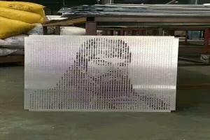 关羽图案冲孔拼花铝单板