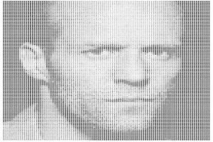 铝单板冲渐变方形孔组合拼杰森·斯坦森头像