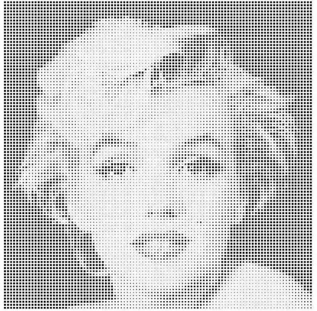 铝单板冲渐变方形孔组合拼玛丽莲梦露头像