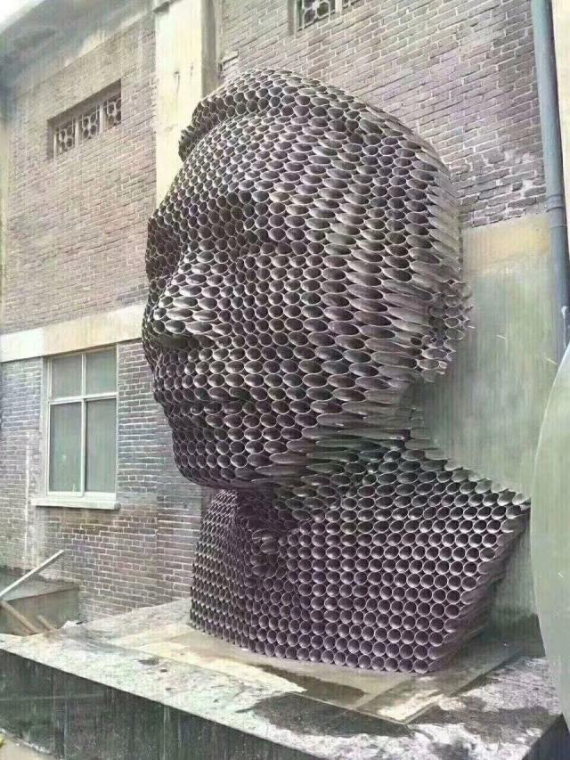 铝圆管削尖组合人头像工艺品