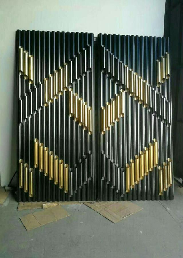 双色铝合金圆管拼装凹凸屏风