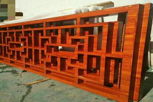 中式木纹铝合金大门花格