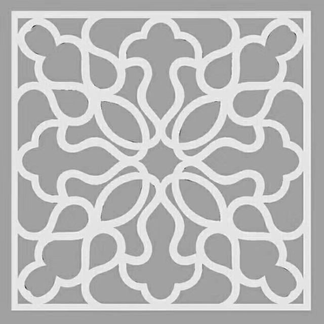 曼陀罗花形雕刻铝窗花设计图案