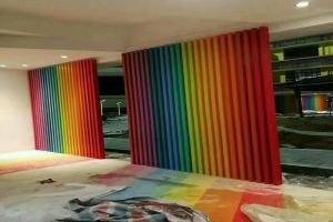 室内七色彩虹渐变铝合金方管隔断