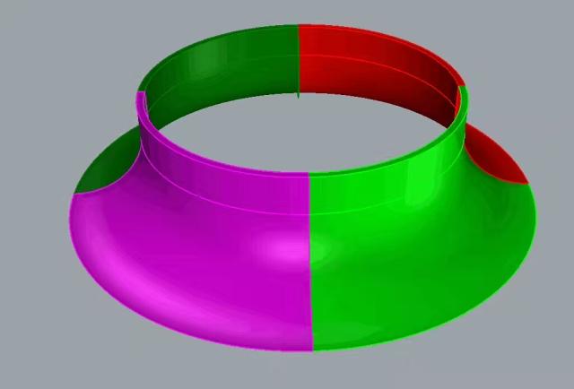 喇叭形雙曲鋁單板工藝品3D建模組裝