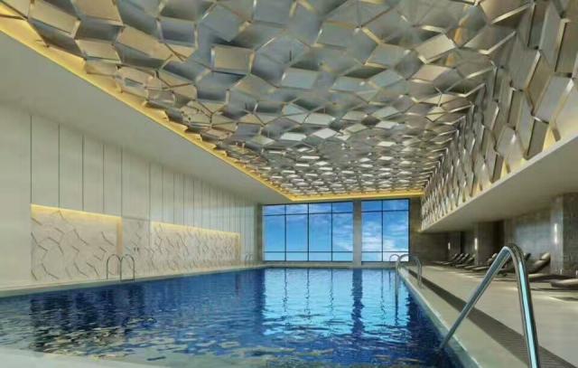游泳池凹凸波浪镜面吊顶铝单板