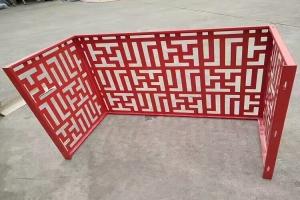 中式古风红色氟碳烤漆铝空调罩