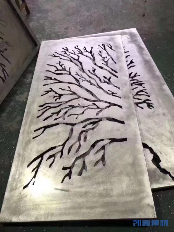 树形雕花铝板和铝方管嵌套铝边框