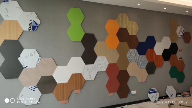 六角形三维复合瓦楞板装饰背景墙