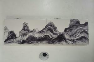 激光喷绘山水画铝单板