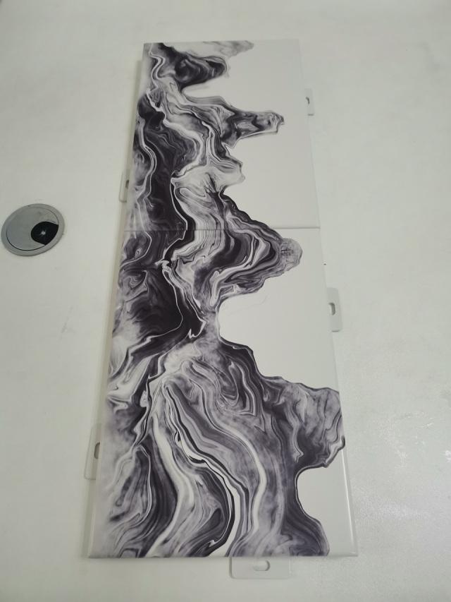 激光喷绘山水画铝单板图案连续