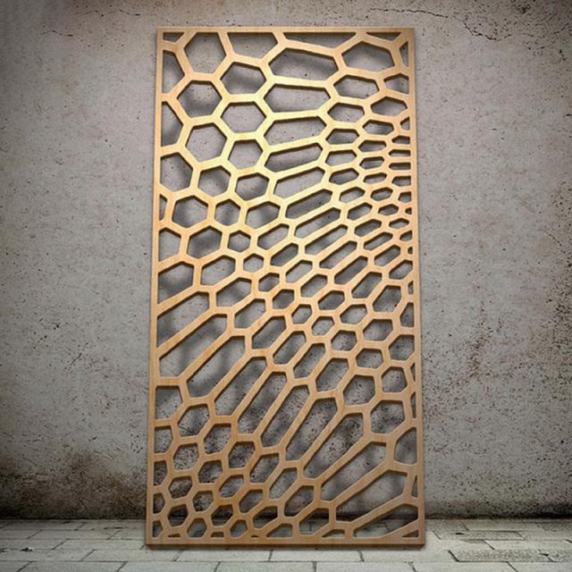 不规则六边形雕刻金色电镀铝单板