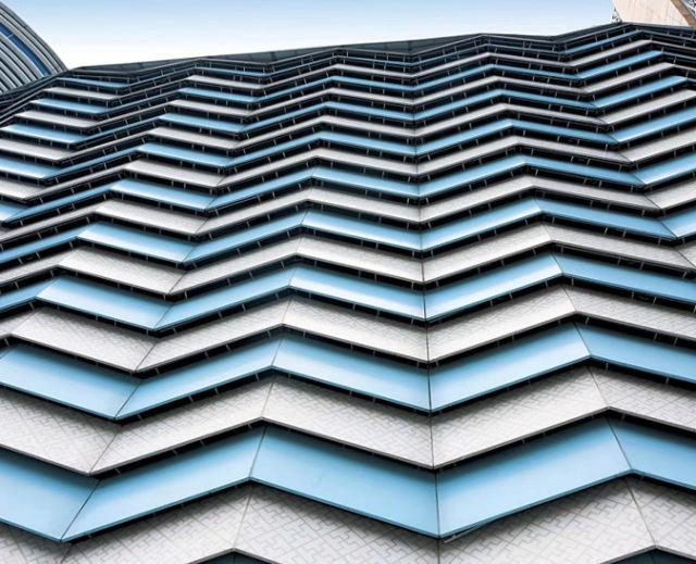 曲折波浪造型外墙双色铝单板