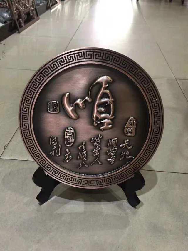 仿古铜铝板浮雕古玩摆件工艺品