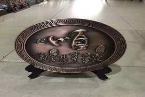浮雕铝单板圆饼中国风古玩摆件