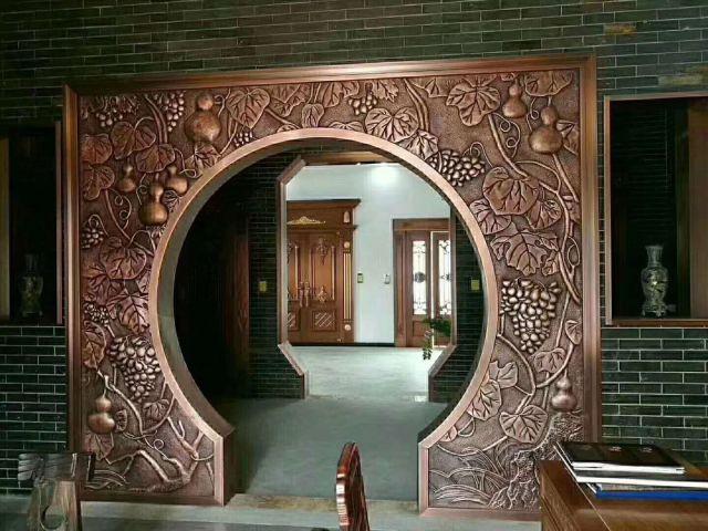 仿古铜浮雕铝板内进门拱门