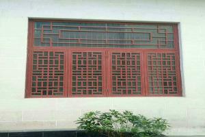 仿古中式木纹色窗弧铝花格