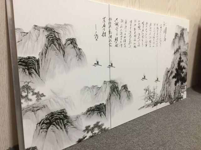 激光UV打印山水画墙面铝单板