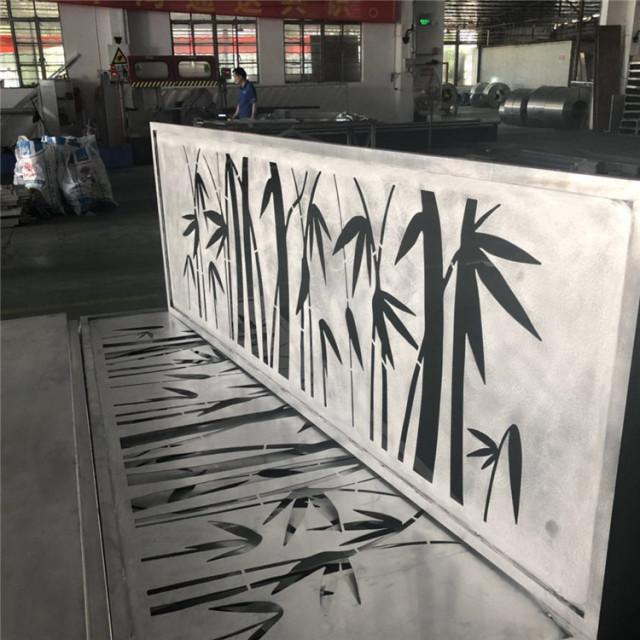 竹叶图案雕刻镂空铝单板