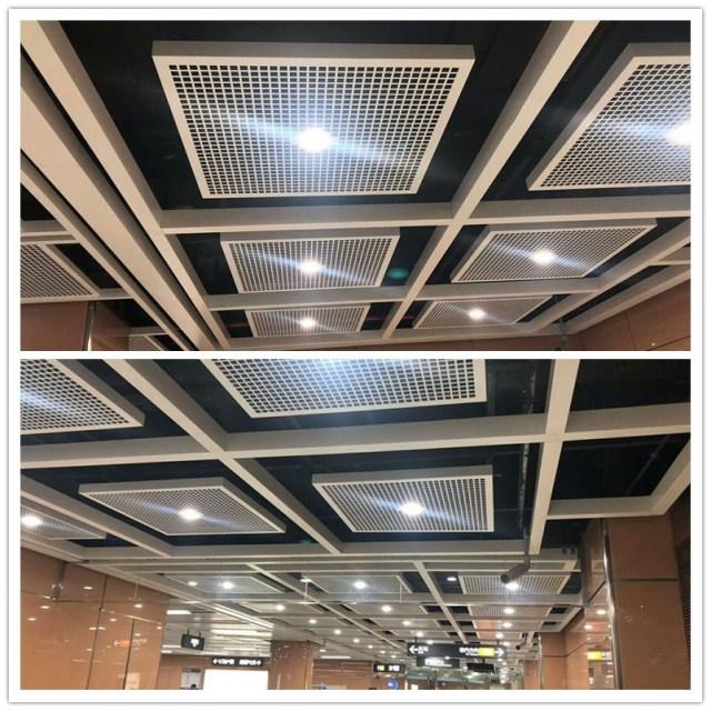 地铁站田字形开放式吸音冲孔吊顶铝单板