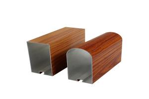 木纹色圆头型材铝管
