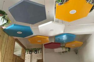 六边形铝单板艺术吊顶花篮