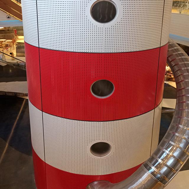红白相间圆形冲孔包柱铝单板板