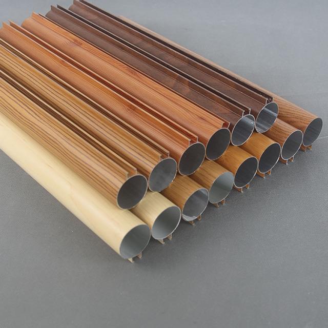 50mm直径木纹色凸槽铝圆管天花