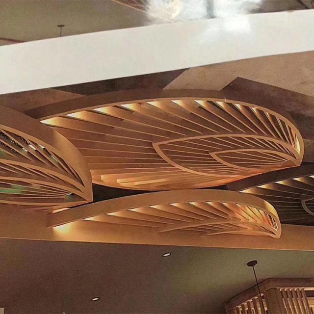 木纹色叶子造型铝方通
