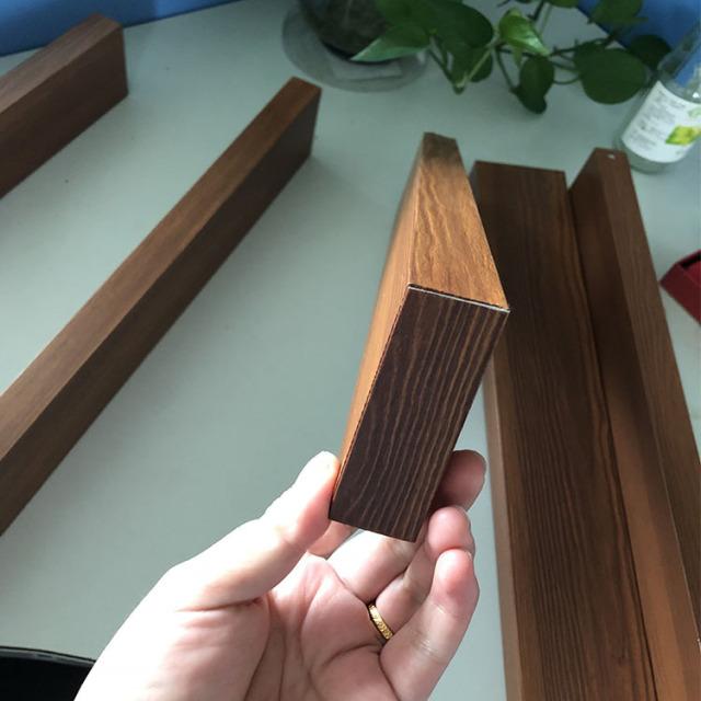 木纹色U形铝方通套封头盖子