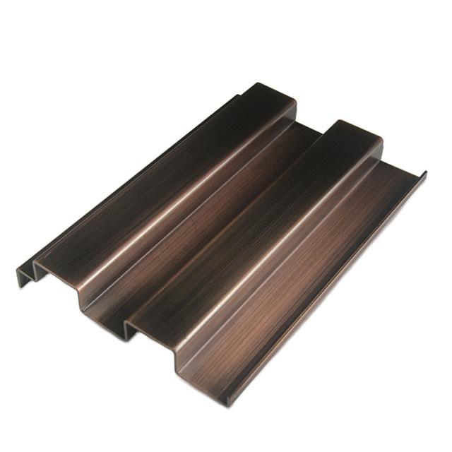 深色古铜长拉丝凹凸长城铝单板