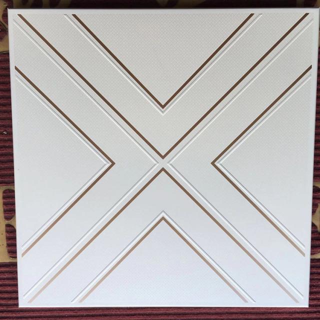 X形纹理镶金边铝扣板