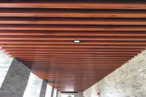 高级小区走廊吊装木纹铝方通吊顶
