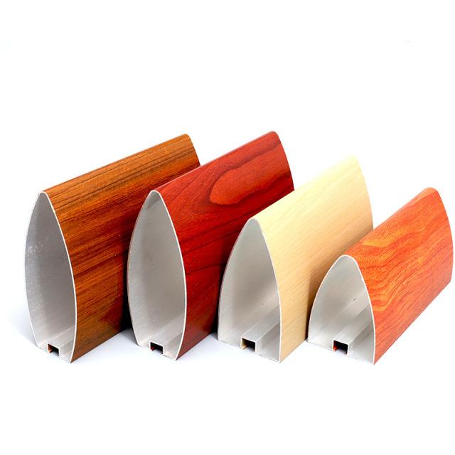 各种规格木纹色子弹头铝挂片型材