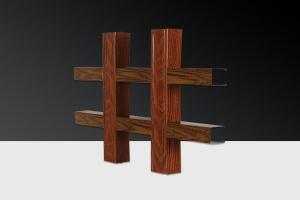 木纹色宽底铝格栅