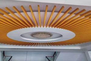 木纹铝方通吊顶圆盘形安装